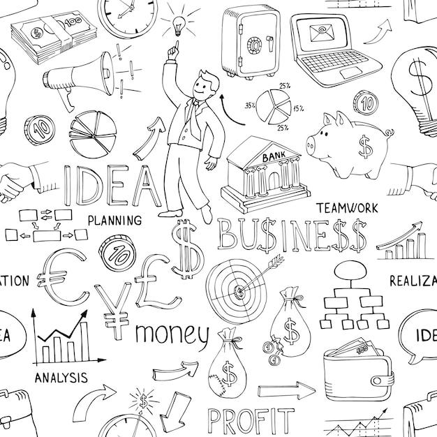 Il business in bianco e nero scarabocchia il modello senza cuciture con una varietà di icone che raffigurano idee e strategie di grafici di analisi del denaro sparse in un disegno vettoriale casuale Vettore gratuito