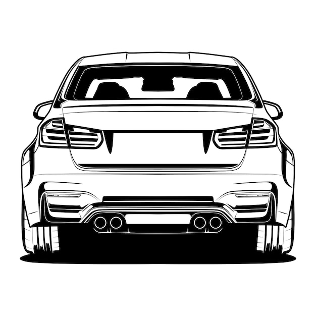 Black and white car illustration Premium Vector