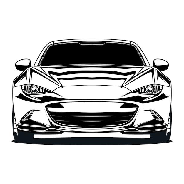 Black and white car illustration Premium Vector