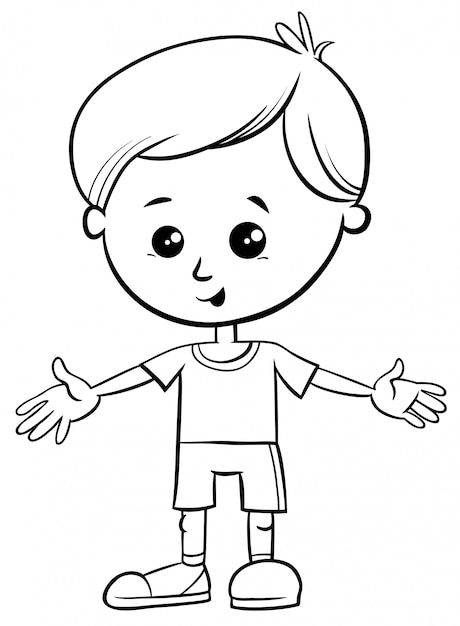 Black and white cartoon illustration of cute little boy ...