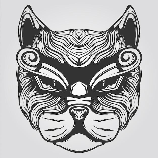 Black and white cat decorative lion art Premium Vector