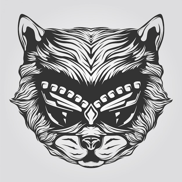 Black and white cat line art for tatto or coloring book Premium Vector