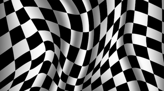 Black and white checkered flag background. Premium Vector