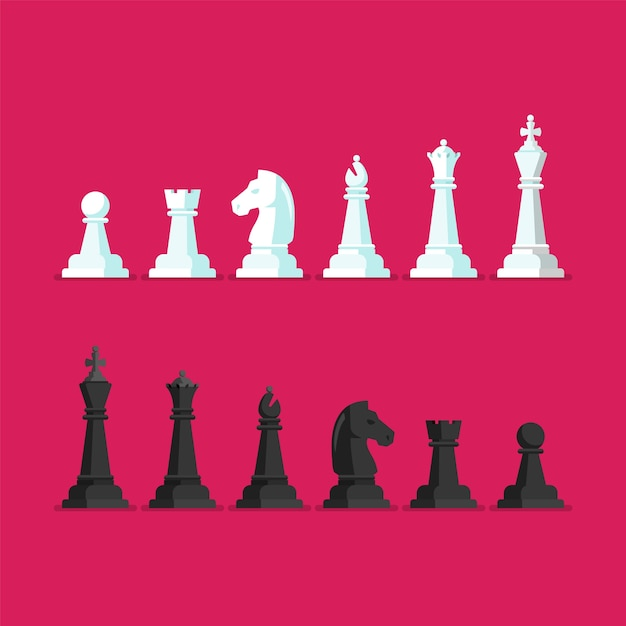 Black and white chess piece vector icons set Premium Vector
