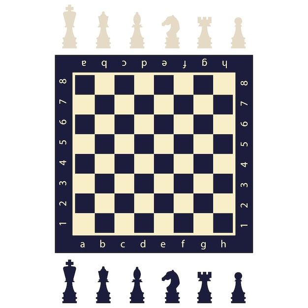 Black and white chess pieces and a board. flat game figures icons isolated on background. Premium Vector