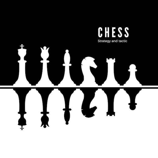 Black and white chessmen set Premium Vector