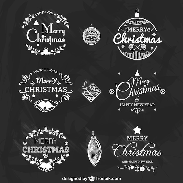 Black and white christmas badges pack Free Vector