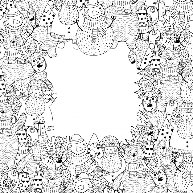 Black and white christmas frame in coloring page style Premium Vector