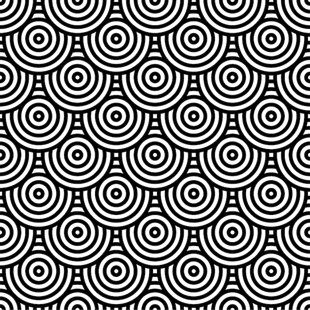 Black and white circle pattern for background Premium Vector