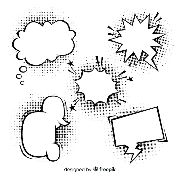 Black and white comic speech bubbles with shadows Free Vector