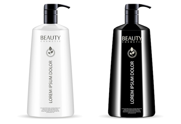 Black white cosmetic pump dispenser bottles set Premium Vector