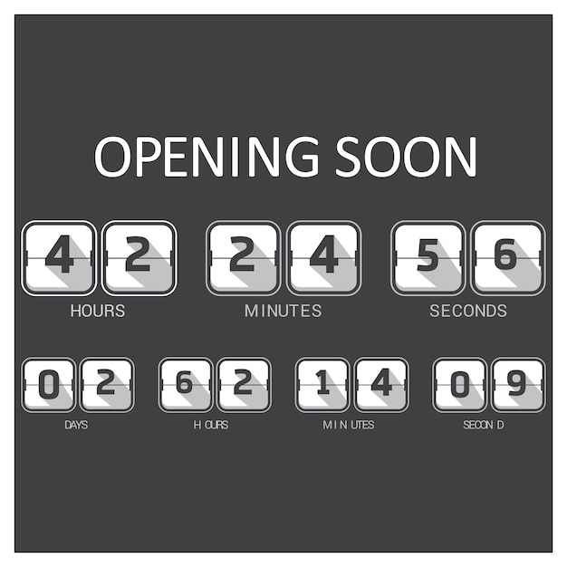 Black and white countdown template Free Vector