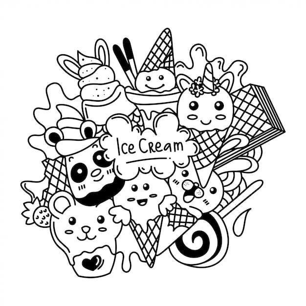 premium vector black and white delicious ice cream doodle illustration https www freepik com profile preagreement getstarted 7736919