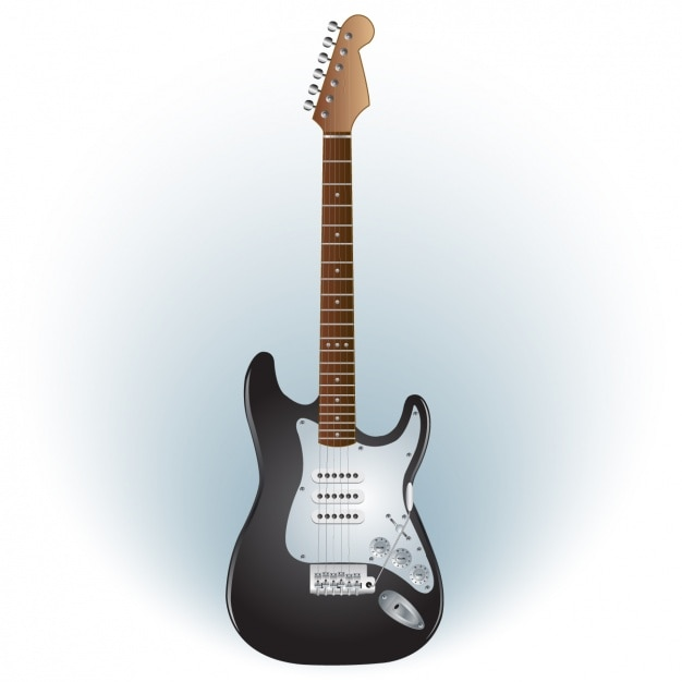 Black and white electric guitar Free Vector