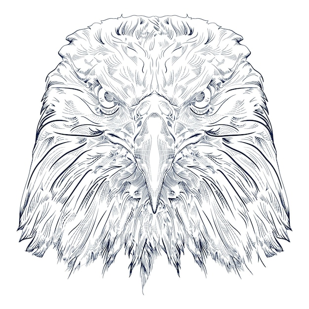 Black and white engrave isolated eagle Premium Vector