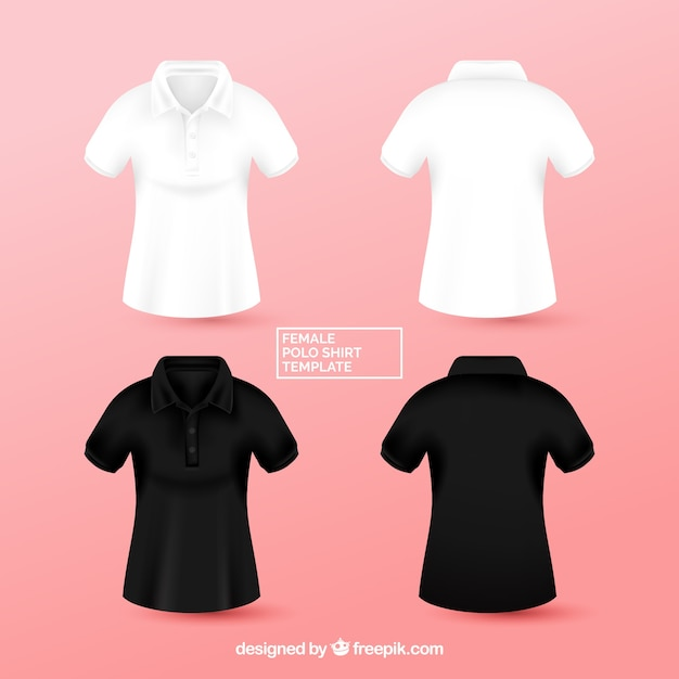 Black and white female polo shirt templante Free Vector