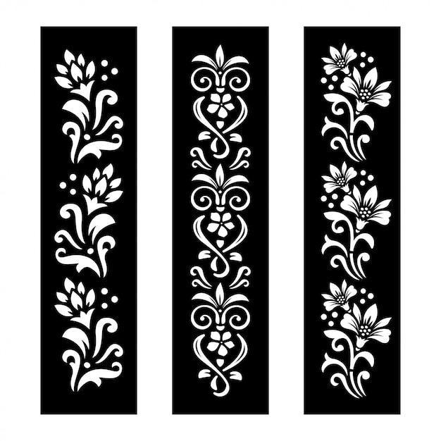 Black and white floral banners Premium Vector