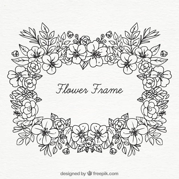 Black And White Floral Frame Vector Free Download