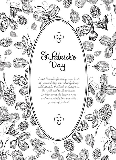 Biglietto di auguri doodle cornice in bianco e nero con molti rami di luppolo, fiori e auguri con la tradizionale st. illustrazione vettoriale di patricks day Vettore gratuito