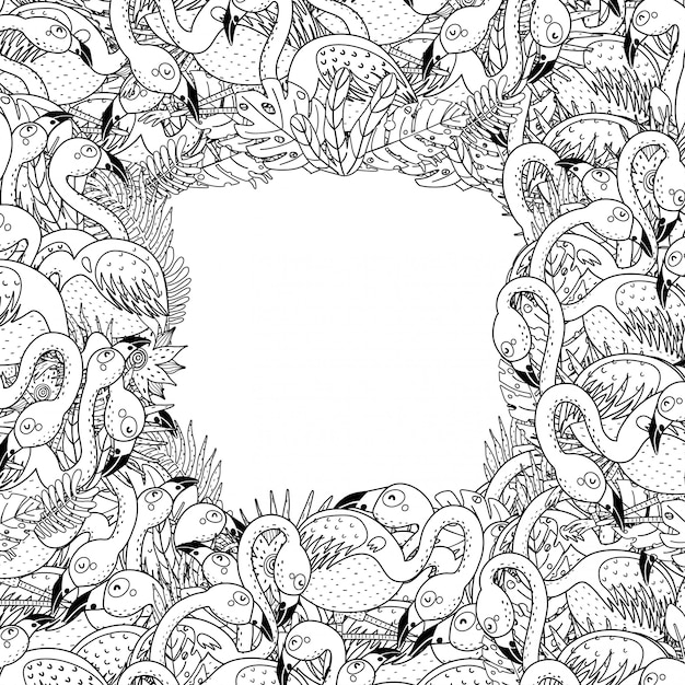 Black and white frame with funny flamingos in coloring page style Premium Vector