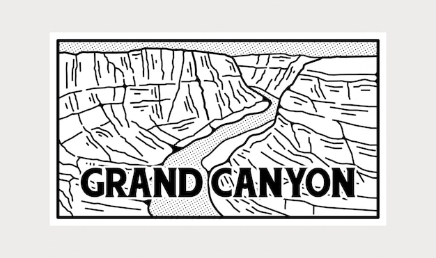Black and white grand canyon national park sticker. Premium Vector