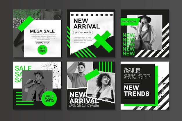 Black white and green sale instagram post Free Vector