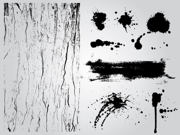 Black and white grunge design elements Free Vector
