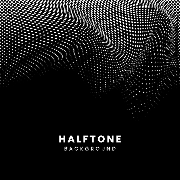 Black and white halftone background vector Free Vector