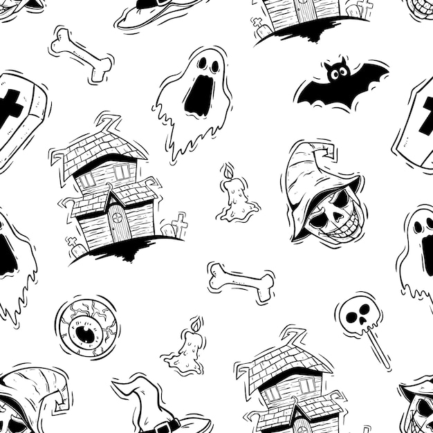 Black and white halloween icons in seamless pattern Premium Vector