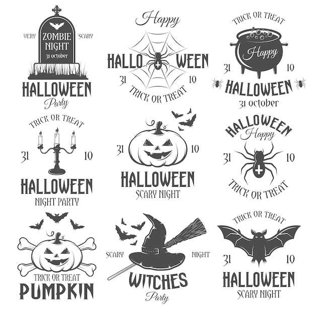 Black and white halloween retro emblems Free Vector