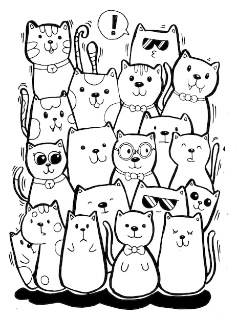 Black And White Hand Draw Cat Characters Set Style Doodles Illustration Coloring For Children Premium Vector