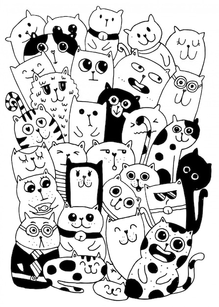 Black and white hand draw, cat characters style doodles Premium Vector