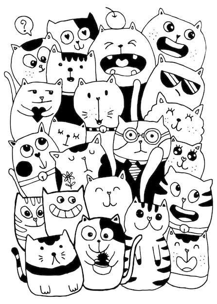 black and white cat characters black and white hand draw, cat characters style doodles