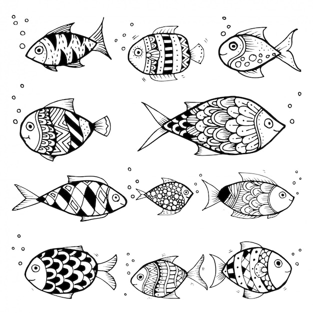 Premium Vector Black And White Hand Draw Vector Fish Characters Set Style Doodles Illustration Coloring For Children Vector