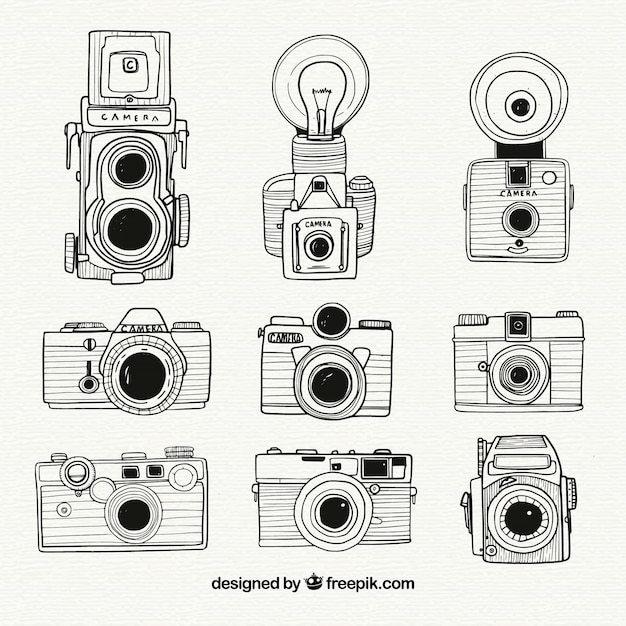 Black And White Hand Drawn Camera Collection Vector Free Download