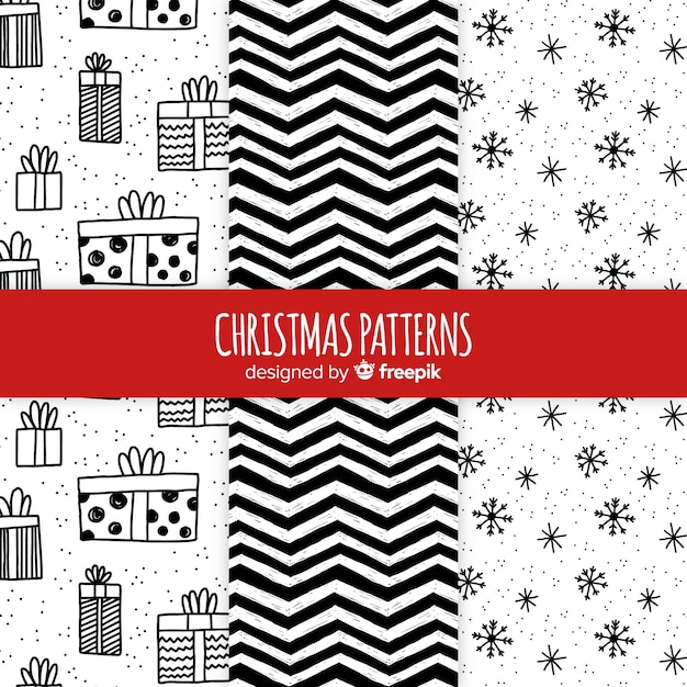 Black and white hand drawn  christmas pattern collection Free Vector
