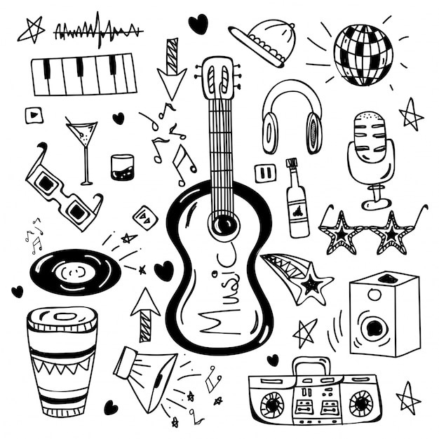 Black and white hand drawn doodle elements for music. Premium Vector