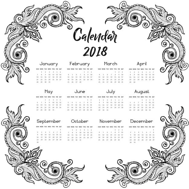 Calendario Vector Blanco.Black And White Hand Drawn Floral Annual Calendar 2018