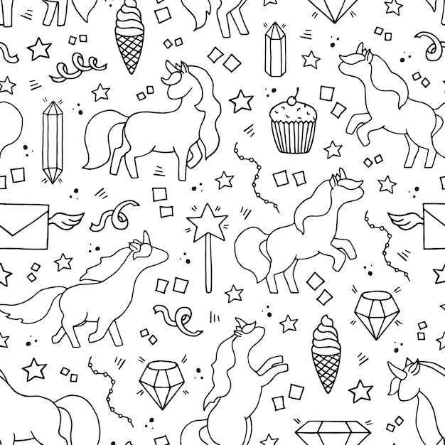 Black and white hand drawn seamless pattern with unicorns. Premium Vector