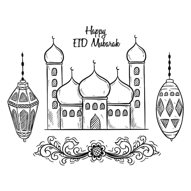 Black and white happy eid mubarak with mosque and lantern ...