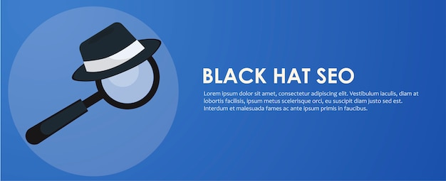 Black and white hat seo banner. magnifier, and other search engine optimization tools Free Vector