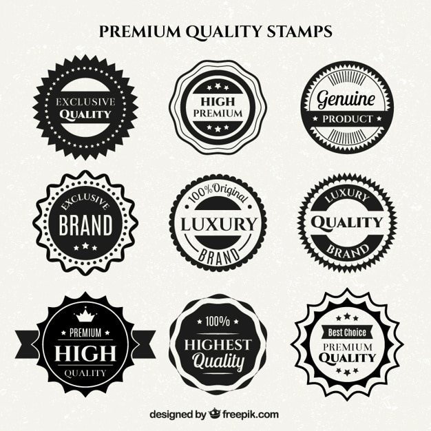 Black and white high quality badges in flat design Free Vector