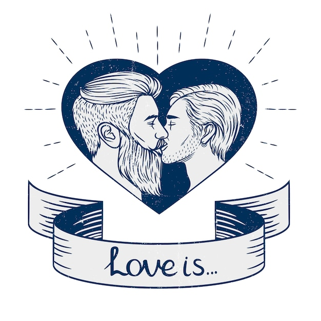 Black and white  the homosexual couple is kissing. Premium Vector