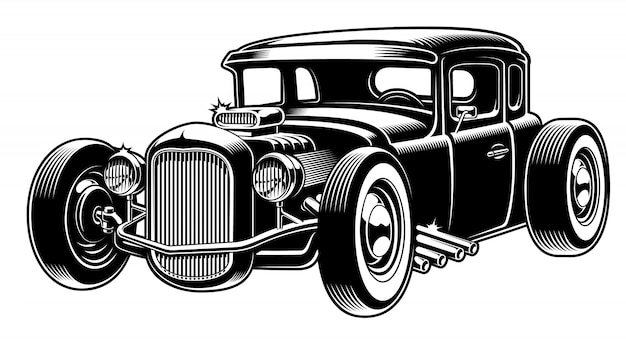 Black and white illustration of hot rod Premium Vector