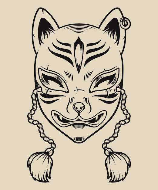 Black and white illustration of a japanese fox mask on a white background. kitsune mask. Premium Vector