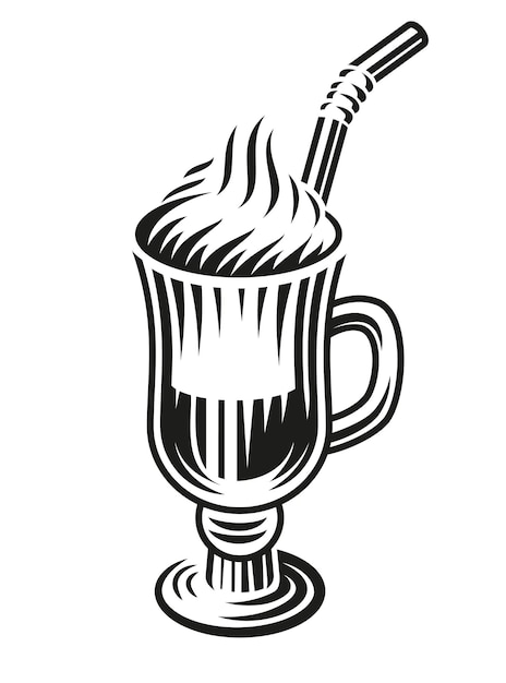 A black and white illustration of a latte on white background. Premium Vector