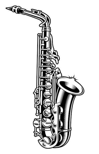 Black and white illustration of saxophone on the white background. Premium Vector