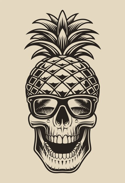 Black and white  illustration of a skull in the form of pineapple. this element  is perfect for shirt prints and many other uses as well. Premium Vector
