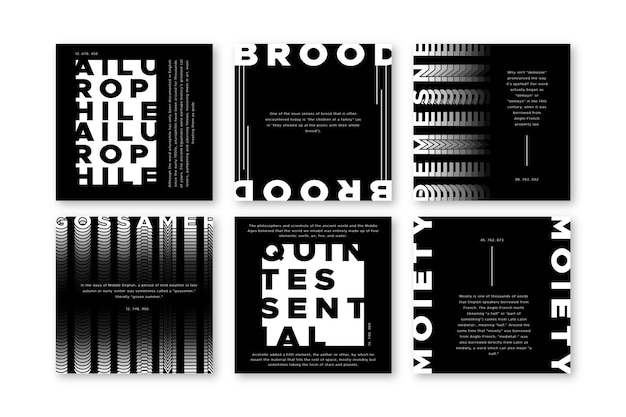 Black and white instagram posts Free Vector