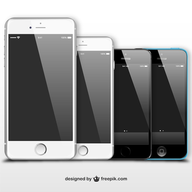 Black and white iphones Free Vector
